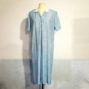 1980s Nancy II Blue & White Poly Dress